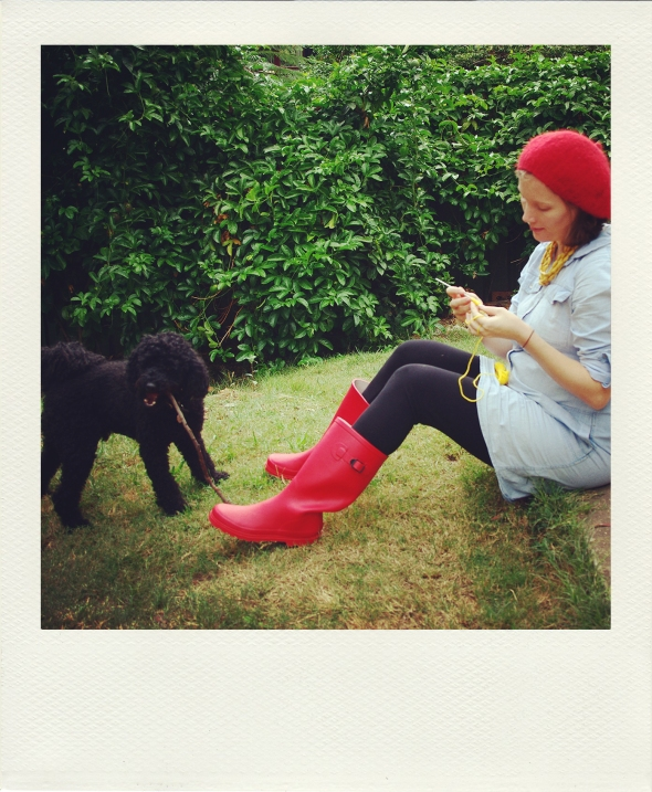 red gumboots, pregnant tummy, crochet, poodle
