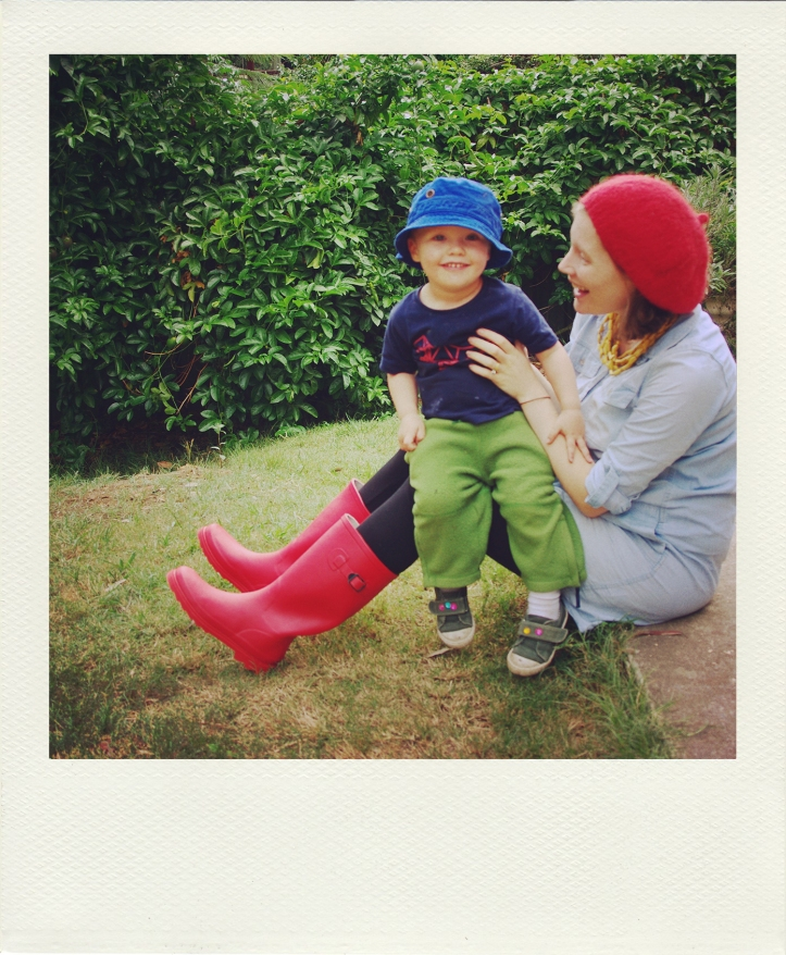 riley posing with me in my red gumboots