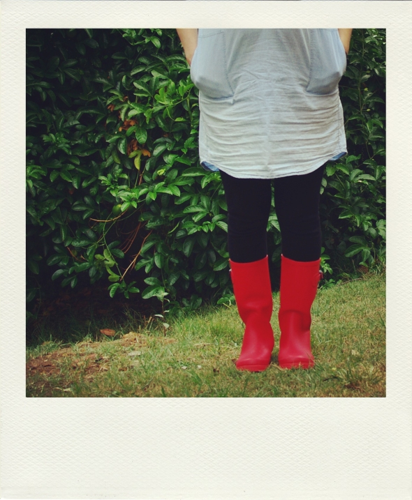 standing in my new red boots